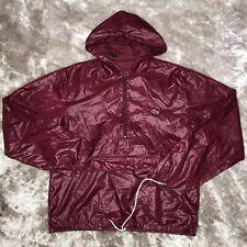 Vintage 1980's IZOD Lacoste Anorak Burgundy Packable Nylon Hooded Rain Jacket M