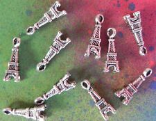 10 Eiffel Tower Themed Charms Pendant Set Silver Wine Charms for Jewelry Making