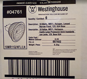 NEW BOX OF 6 Westinghouse 04761 Bulbs ~ Halogen Bright Flood Lights Low Voltage