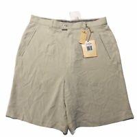 Tommy Bahama Khaki High Waist Lucky Penny 100% Silk Shorts Womens Size 14 New