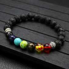 Yoga Chakra Lava Rock Multi Colored Stone 6MM Fashion Charm Prayer Bracelet II