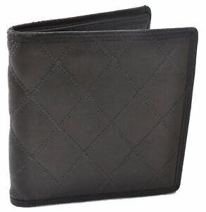 Authentic CHANEL Bicolore Calf Skin CC Logo Bifold Wallet Brown D5988