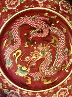 "Mid 20th C Japanese Imari Arita Plum Dragon Porcelain Charger Plate 11.8"" D"