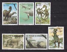 Sao Tome and Principe : Prehistorical Animals ( 6 v ) 1993 MNH