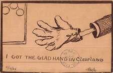 Cleveland Ohio Hand Glove Greeting Cartoon Antique Postcard K45163