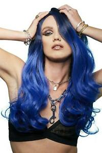 Manic Panic After Midnight Ombre Queen Wig Drop Curls Blue Fancy Dress Wig