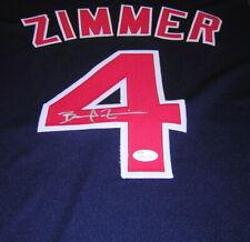 Bradley Zimmer Cleveland Indians Autographed Signed 16x20 Jersey Swatch Blue JS