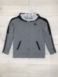 Adidas Hybrid Full Zip Hooded Jacket Gray/Black Boys SZ Large (14-16)