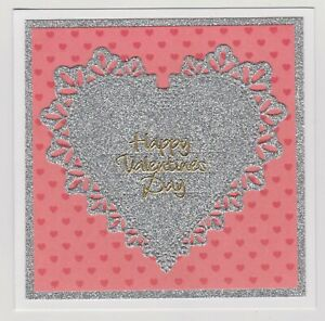 Blank Handmade Greeting Card ~ HAPPY VALENTINE'S DAY with SILVER GLITTER HEART