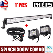 PHILIPS 52Inch 300W Led Work Light Bar Combo Boat 4WD+2x18W Pods+Wiring Harness