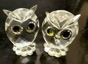 2 Retired Swarovski Crystal Owl Figurines Designed by Max Schreck
