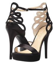06121d5aa21 NIB Jessica Simpson Bayvinn Black Satin Crystal Cutout Platform Sandals Sz 7