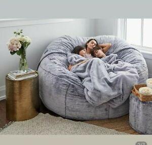 Giant Fluffy Fur Bean Bag Bed Slipcover Case Floor Seat Lazy Sofa Recliner Pouf