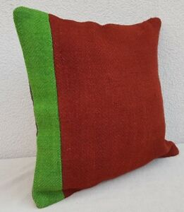Green & red color woven decorative throw pillows, wool pillow cover 16'' X 16''