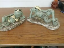 2 Vintage Sexy Frog's concrete garden statues fig leaf bikini sunglass �Rare�