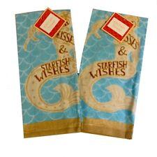 Dish Towels Set of 2 Mermaid Kisses Beach House 100% Cotton Dish Towel New
