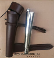 Fox Hunting Saddle Flask with Cowhide Thick Brown Leather Case by EQUINELIBRIUM