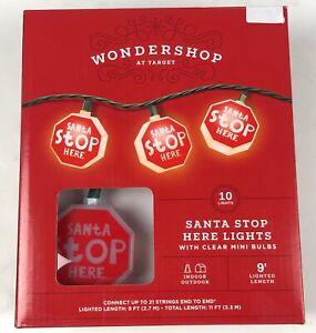 """Santa Stop Here"" Wondershop 10 Lights Clear Red Signs LED 9' Total Length NEW"