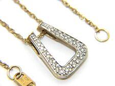 Mujer Mujer 9ct 9ct GOLD COLGANTE CON DIAMANTE & 17 1.3cm CADENA Contraste