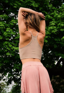NEW Free People Movement Happiness Runs Tank Top in Taupe XS/S-M/L $39.80