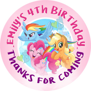 MY LITTLE PONY MLP CUSTOM ROUND BIRTHDAY PARTY STICKERS FAVORS LABELS SUPPLIES B