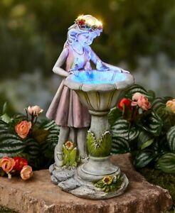 Solar Powered Lighted Little Girl Gazing Into Bird Bath Garden Sculpture Statue