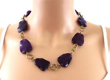 "JOHN LEWIS 21"" Semi-Precious NECKLACE Chunky Stone MATINEE Brass Gold Tone Chain"