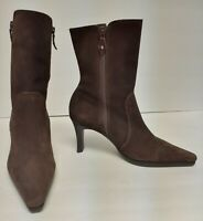 UNISA Suede Leather Boots Fashion Dual Zip Brazil Brown Women's 7 B Distress VTG