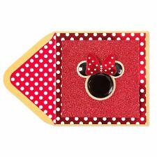 Papyrus Handmade Gemmed Minnie Mouse Blank Card jewels & glitter Retail $7.95