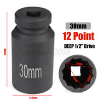 30mm 1/2'' Drive Joint Heavy Duty Deep Impact Socket 12 Point Bi Hex Spindle