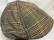 STETSON BROWN PLAID IVY DRIVER CAP VIRGIN WOOL BLEND LARGE 59cm 7 3/8 Duckbill