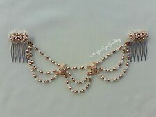 Pieza para cabeza Novia Oro Rosa, cristales Swarovski Perlas Peluca Cortinas Boda