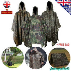 RIPSTOP RAIN PONCHO WATERPROOF HOODED ARMY FESTIVAL MILITARY CAMPING HIKING UK