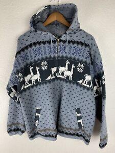 Tejidos Ruminahui Aztec Alpaca Sweater Hoodie Made in Ecuador Black Gray Large