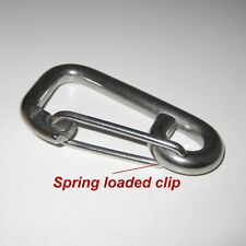 304 Stainless Steel Carabiner x 1 M8 (8mm) Length 80mm Spring Snap Clip Hook key