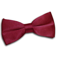 Burgundy Mens Pre-Tied Bow Tie Satin Plain Solid Formal Classic Necktie by DQT