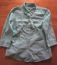 LL Bean Women's Essential Seersucker Shirt 3/4 Sleeve Size M, White/Green Stripe