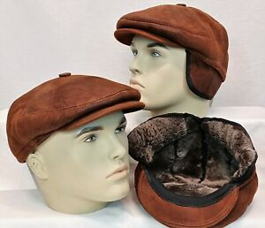 100% REAL SHEEPSKIN SHEARLING LEATHER Driving Newsboy Hat Gatsby WHISKEY, S-3XL
