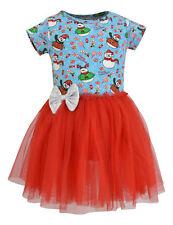 Girls Snowman Print Christmas Tutu Dress Boutique Toddler Kids Clothes