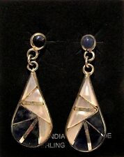 Native American Jewelry - Zuni - Earrings - Lapis/Mother of Pearl - signed KK
