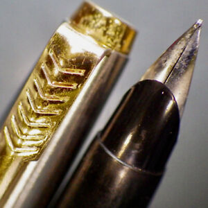 PARKER 45 Black Gold C/C Fountain Pen Octanium EF Nib Full Quink Cart Serviced