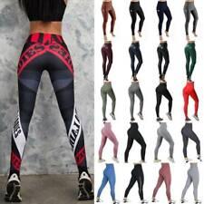 Damen Yoga Hose Sporthose Fitnesshose Push Up Leggings Gym Stretch Panel Leggins
