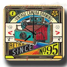VINTAGE CAMERA PHOTOGRAPHY RETRO METAL TIN SIGN WALL CLOCK
