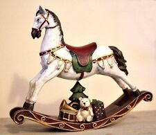 Vintage Style Christmas Rocking Horse Ornament Large Figurine Ornament with Bear