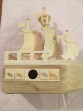 "Unfinished wood Diypirate ship bird house 11"" x 10"" x4"""