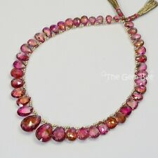 """Rare Pink Peacock Watermelon Tourmaline Faceted Pear Briolette Beads 9.5"""" Strand"""