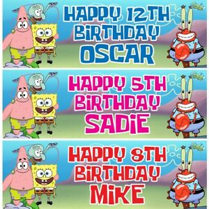 2 Personalised Sponge Bob Birthday Banners Childrens Party Decorations