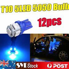 12pcs Blue T10 194 W5W 5-SMD 5050 LED Wedge Bulbs Car Dash Dome Indicator Lights