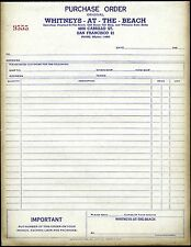 WHITNEYS PLAYLAND-AT-THE-BEACH,CLIFF HOUSE&SUTRO BATHS~1940s PURCHASE ORDER FORM