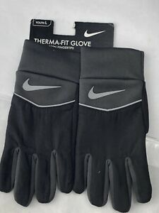 Nike Youth Therma-Fit Gloves Size Large Black Silver Touch Screen Technology